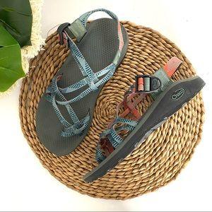 Chaco ZX/2 Green Orange Sandal size 10